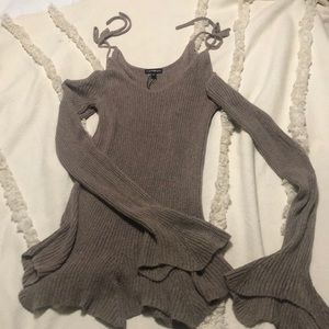Express Taupe Bell Sleeve Sweater